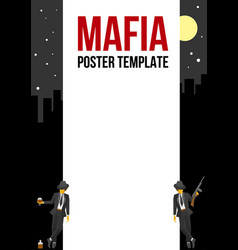 Poster of flyer template with two retro gangsters vector