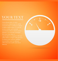 Fuel gauge flat icon on orange background vector