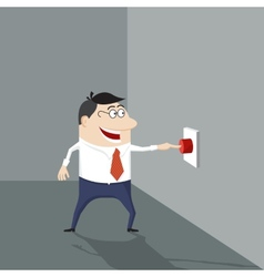 Cartoon man pushing a red button vector