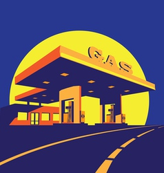 Modern petrol station at night vector