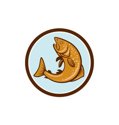 Brown trout jumping circle cartoon vector