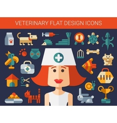 Set of flat design veterinary and pet icons vector