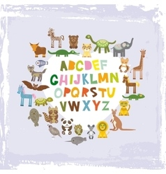Alphabet for kids from a to z set of funny vector