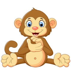 Cartoon monkey clapping hand vector