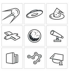 Astronomy space science icons set vector