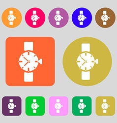 Watches icon symbol 12 colored buttons flat vector