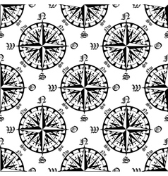Vintage compass roses seamless pattern vector