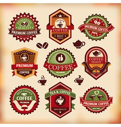 Set of vintage coffee labels vector