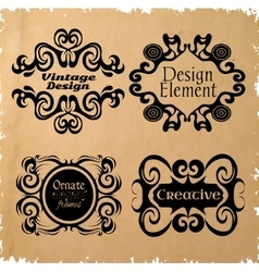 Vintage frame set on retro background vector image