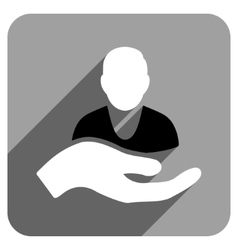 Patient assistance flat square icon with long vector