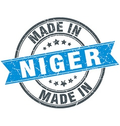 Made in niger blue round vintage stamp vector