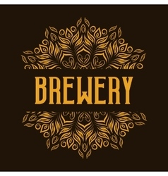 Traditional brewery logo with mandala vector image