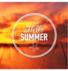 Summer card with sunset background and text vector