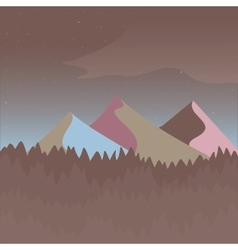 Pink and brown mountain landscape vector