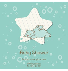Baby Shower Card with Bear vector image vector image
