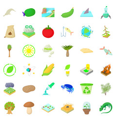 biology science icons set cartoon style vector image