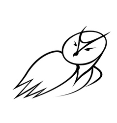 Black and white doodle sketch of an owl vector image