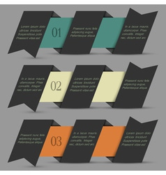 Black origami paper numbered banners vector