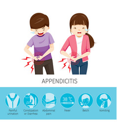 Boy and girl stomachache because to appendicitis vector