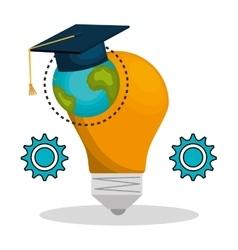Bulb and graduation cap vector