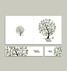 Cards with business tree concept for your design vector