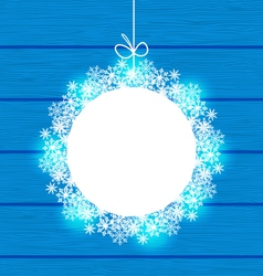 Christmas round frame made in snowflakes on blue vector image vector image