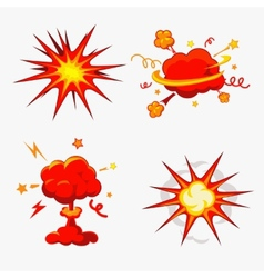 Comic book explosion bombs and blast set vector