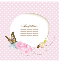 Cute baby shower invitation scrapbook template vector image