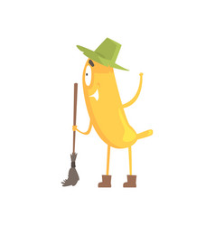Cute funny banana in green hat holding broom vector