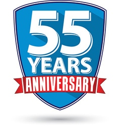 Flat design 55 years anniversary label with red vector image vector image
