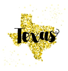 Golden glitter of the state of texas vector