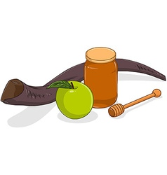Honey jar apple and shofar for yom kippur vector