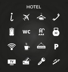 hotel icons set on blackboard vector image