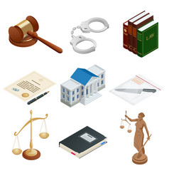 Isometric icons of isolated public justice symbols vector