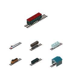 Isometric railway set of depot train railroad vector