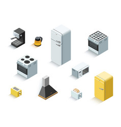 Isometric set of home electric equipment vector