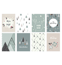 Merry christmas cards and icons vector
