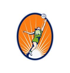 Netball player reboundng jumping for ball vector