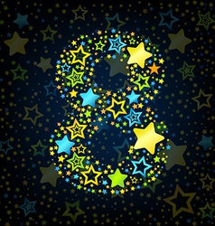 Number 8 cartoon star colored vector