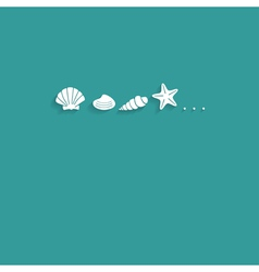 Seashells flat card vector