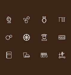 Set of 12 editable teach outline icons includes vector