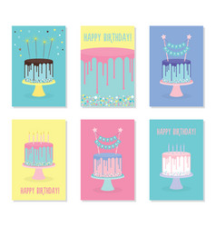 set of birthday greeting cards with cakes vector image vector image