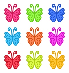 Set of Colorful Hand Drawn Butterflies Isolated on vector image vector image