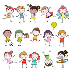 set of cute happy cartoon doodle kids hand-drawn vector image vector image