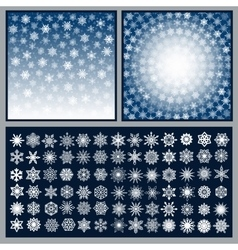 Snowflakes Backgrounds and Icons vector image
