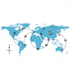 worl airline routes vector image
