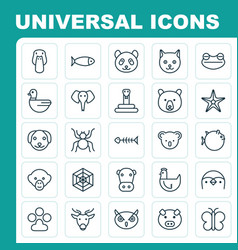 Zoo icons set collection of moose marsupial vector