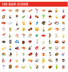 100 bar icons set isometric 3d style vector
