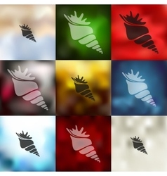 Shell icon on blurred background vector
