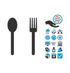 Fork and spoon flat icon with bonus vector